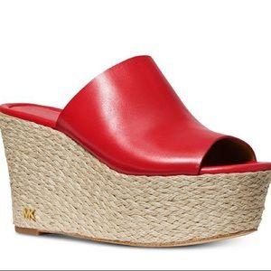 NIB Michael Kors Red Cunningham Slide Sandal Wedge